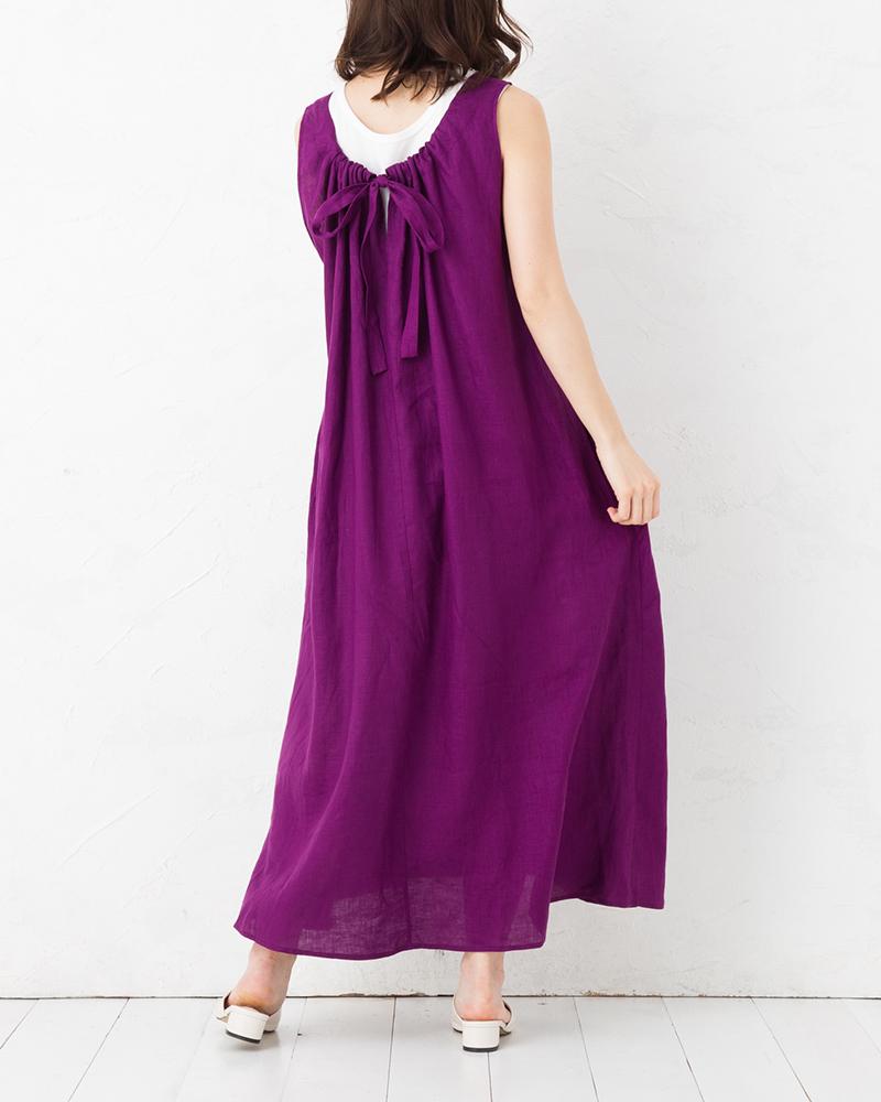 インナー付きバックリボンフレンチリネンサマードレス