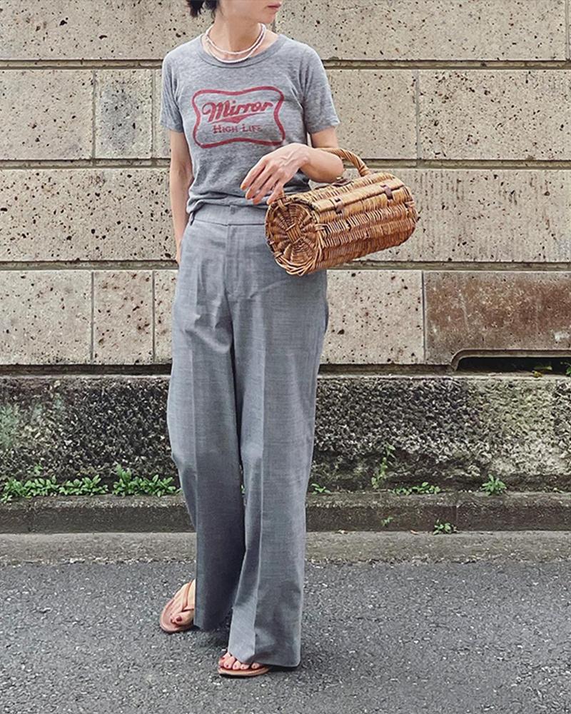 【Canaria Style】《予約商品(お届けは60日前後予定)》ウール混ストレッチストレートパンツ