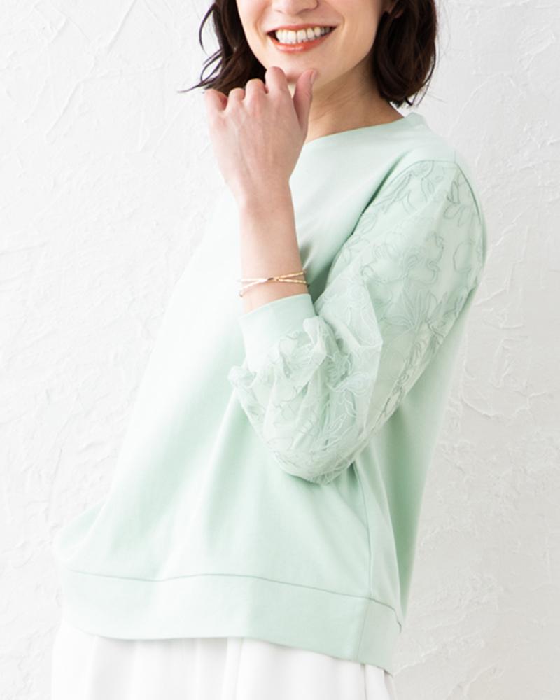 【NEW】チュール刺繍切り替えポンチプルオーバー