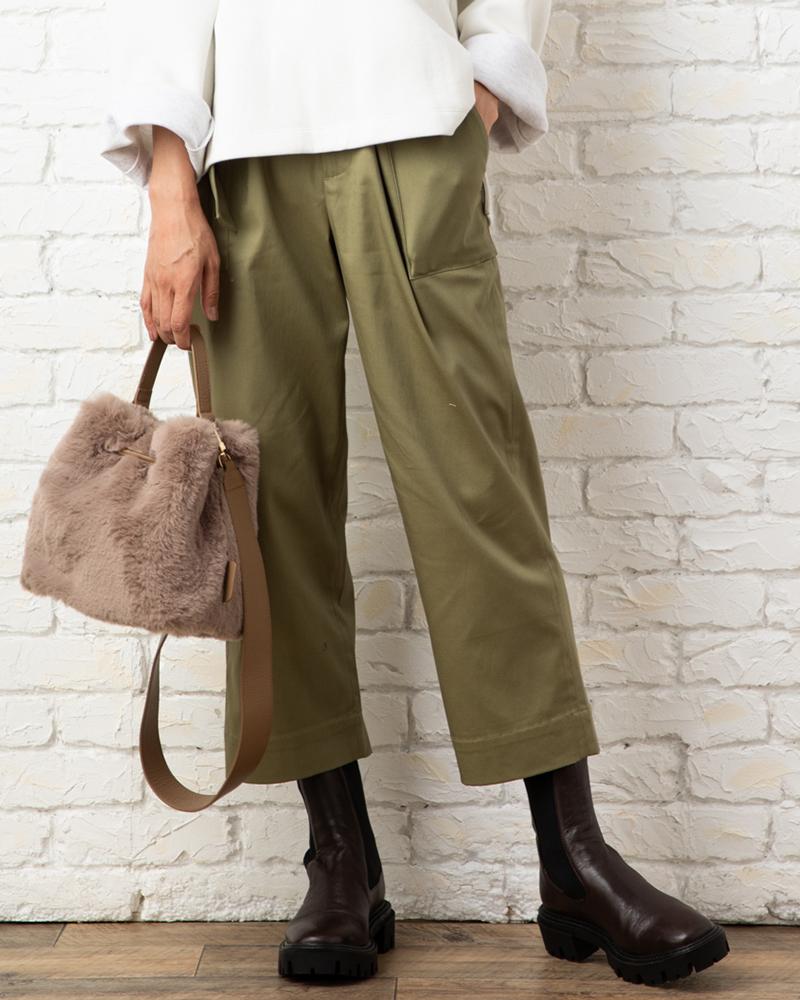 【NEW】綿サテンベルト付きベイカーパンツ