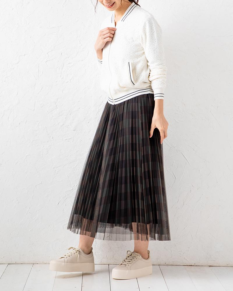 チェックプリントチュールレイヤードスカート