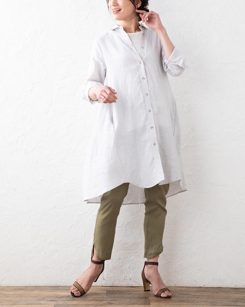 【NEW】ソフトフレンチリネンサイドフレア&タックアクセントロングシャツ