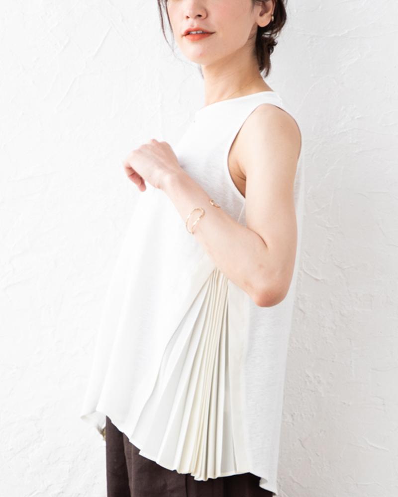 【NEW】リネンジャージー×布帛コンビサイドプリーツ切り替えノースリーブプルオーバー
