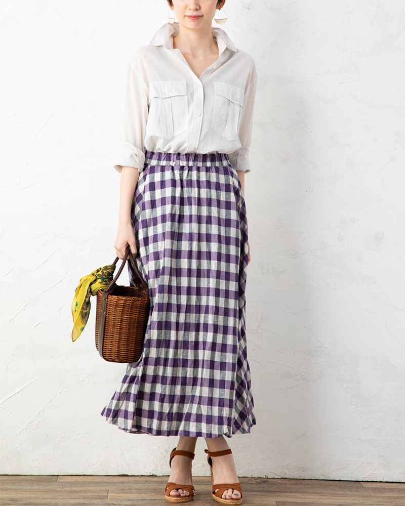 【NEW】綿麻染めチェックフレアスカート(BOUNCY BOND)(7月31日までの限定価格)