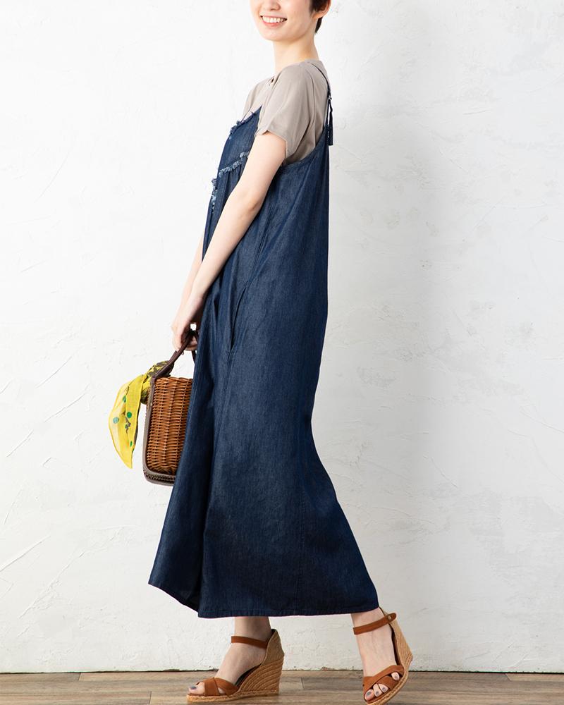 【NEW】テンセルデニムフリンジアクセントレイヤードドレス(BOUNCY BOND)(7月31日までの限定価格)