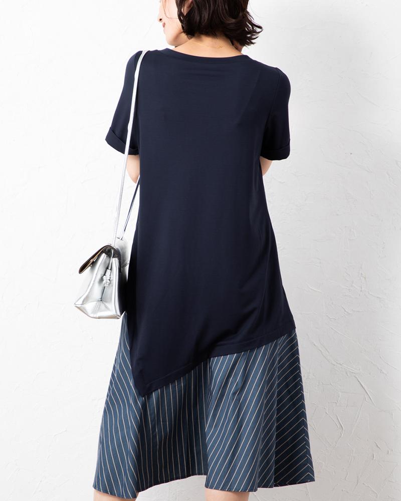 【NEW】異素材コンビアシメヘムアクセントワンピース(7月31日までの限定価格)