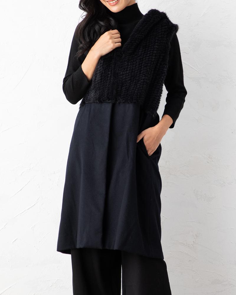 【NEW】カシミヤ×ミンク編み込みジレ