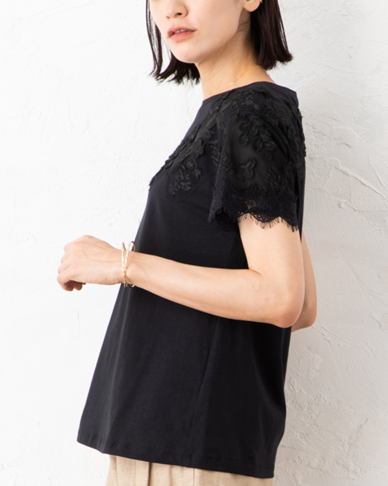 【NEW】度詰めコットン天笠3Dレーストリム半袖プルオーバー(7月31日までの限定価格)
