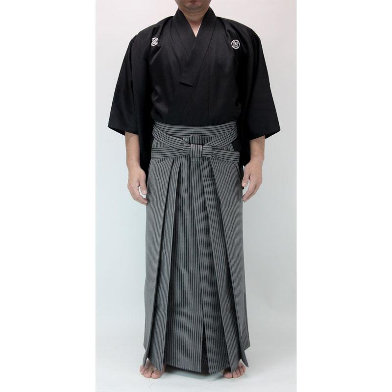 最高級ポリエステル居合道衣(紋付用着物袖)+【京都西陣仕立】最高級居合道縞袴セット