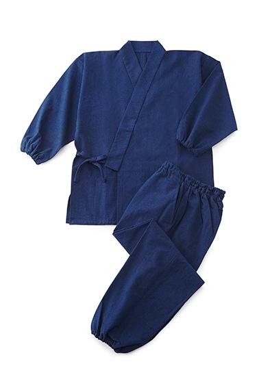 藍染めつむぎ織京作務衣【日本製・作務衣】