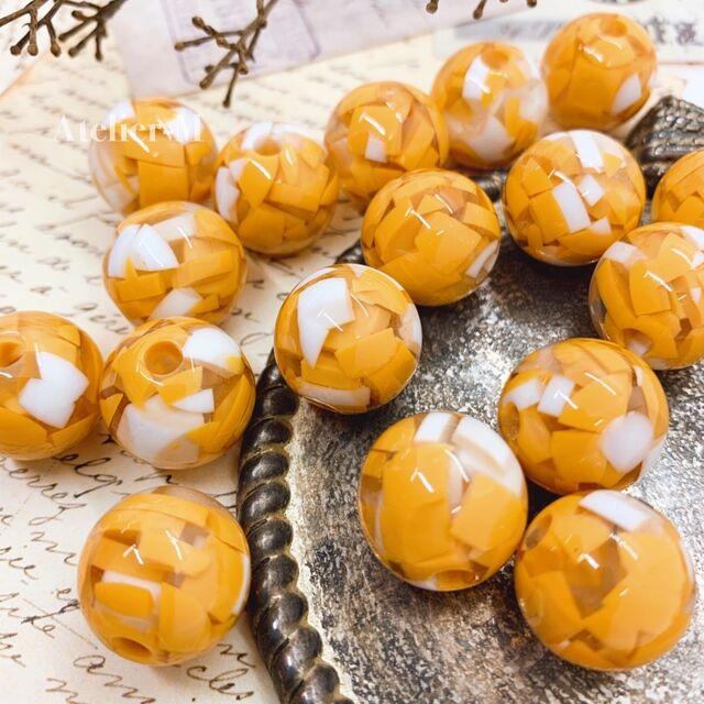 【福袋パーツ】orange marble クリアビーズ 15mm (6個)