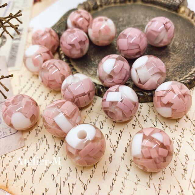 【福袋パーツ】pink marble クリアビーズ 15mm (6個)