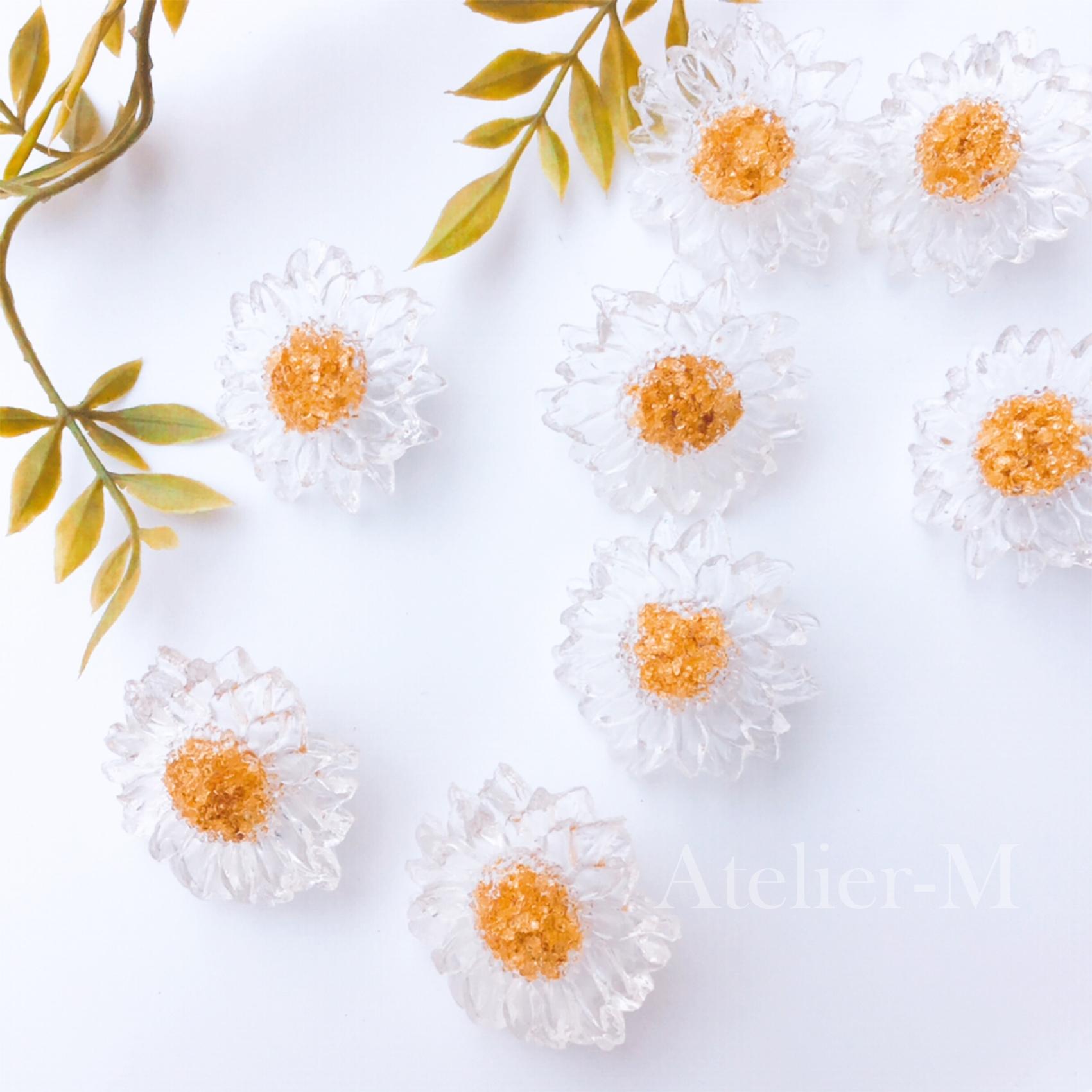 【セール】B045 【S925】clear Gold flowerピアス