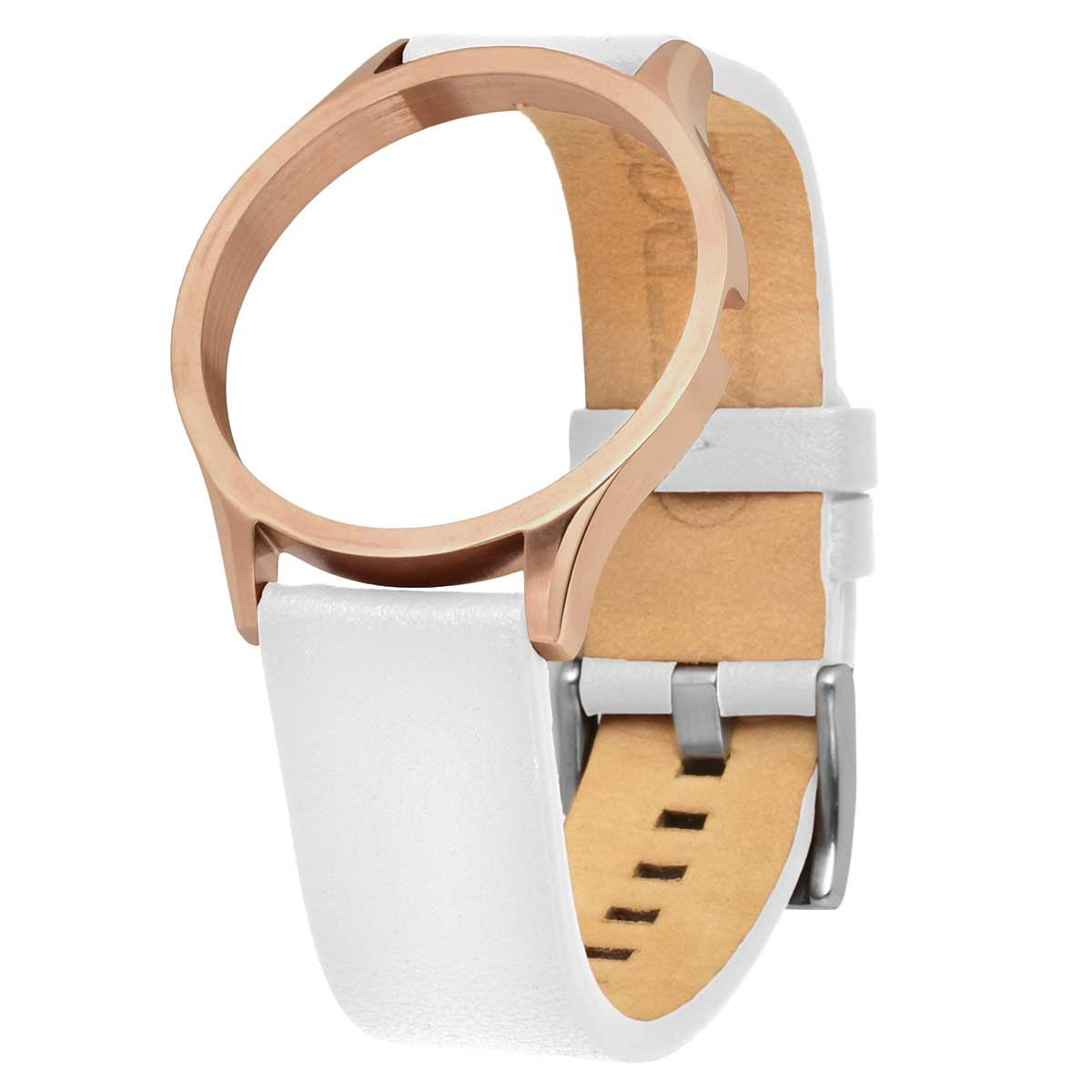 LEATHER STRAP ROSEGOLD-WHITE