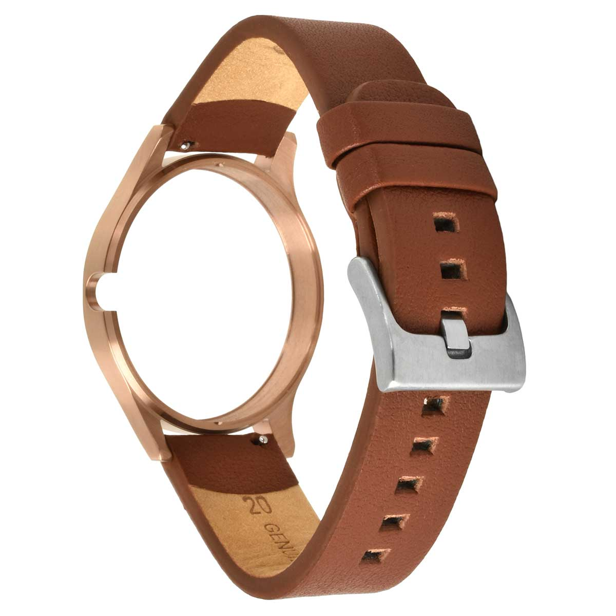 LEATHER STRAP ROSEGOLD-BROWN