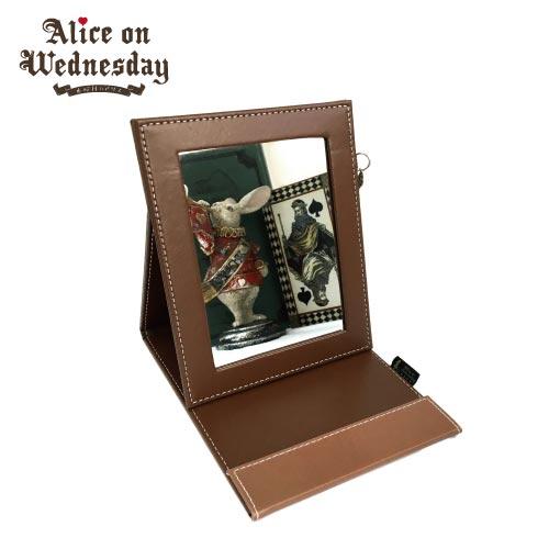 【水曜日のアリス】 折りたたみミラー アリス ステンドグラス ネイビー ブラウン ブラック