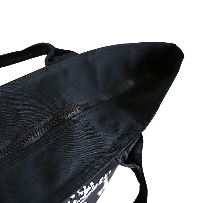 「ゆめ花のお絵描き」アニマルワンダーリゾウトジップトートバッグ(黒)