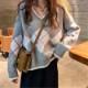 おしゃれ見えと防寒を両立 ゆったり チェック柄 長袖 女性ニットセーター