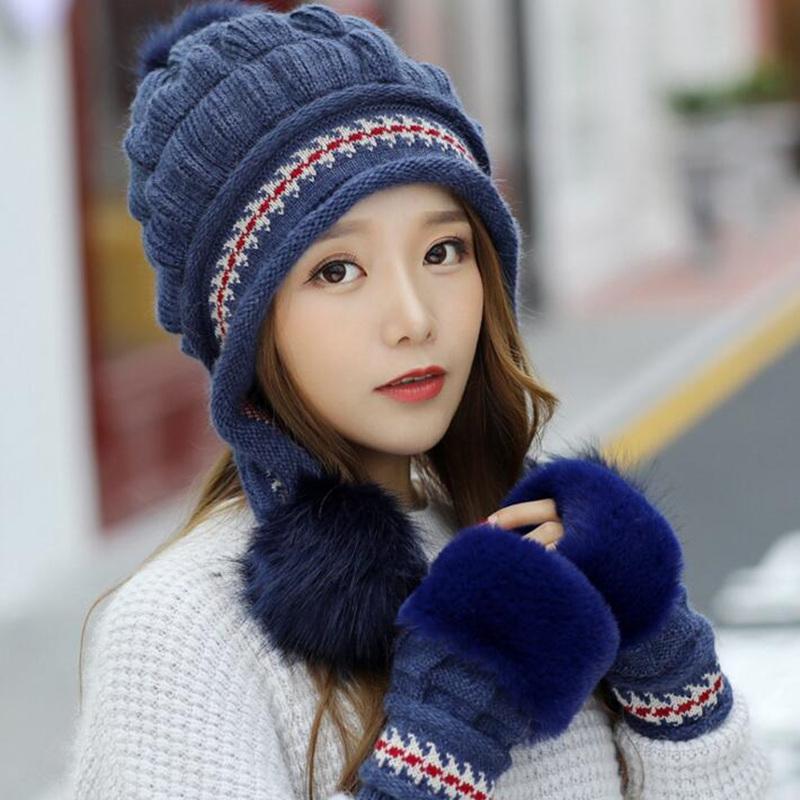超可愛い レディース 毛系ニット帽子+スマホ手袋 2点セット 防寒グッズ お揃い