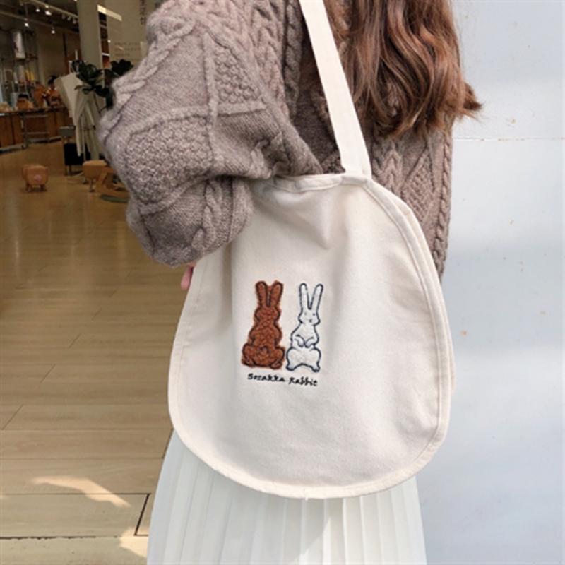 可愛い 兎 ショルダーバッグ トートバッグ カジュアル 人気ファッション 帆布