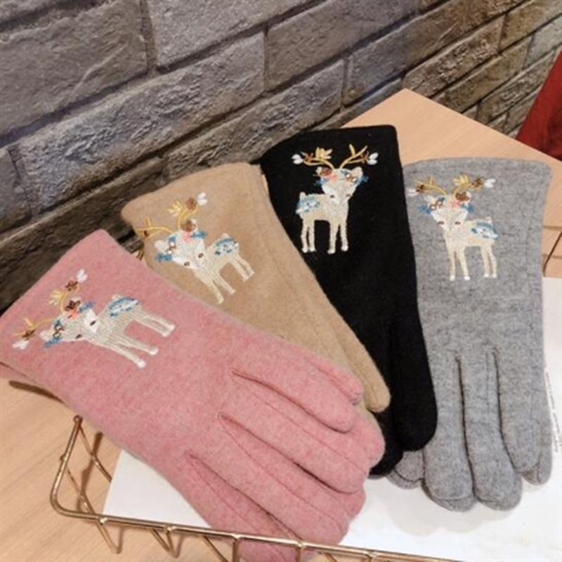 五本指 可愛い 刺繍 鹿 スマホ手袋 クリスマス限定柄 厚手 ハンドウォーマー 秋冬新作 暖かい 防寒グッズ