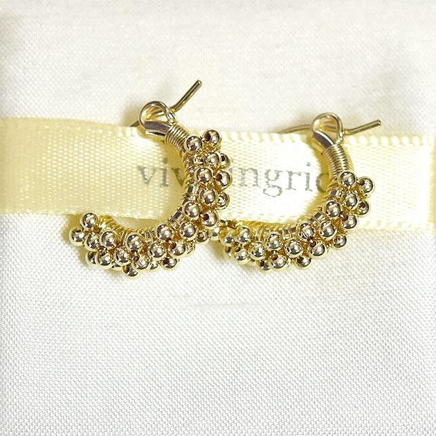 ≪viv & ingrid≫ ヴィヴ&イングリッド<br>スパイラル ゴールド フープ ピアス Spiral Hoop Earrings ExtraSmall (Gold Beads)