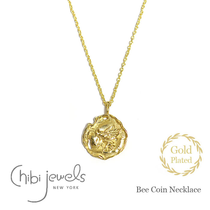 ≪chibi jewels≫ チビジュエルズ<br>モロッコ 蜂 ハチ モチーフ コインネックレス メダリオン ネックレス コイン 14金仕上げ Bee Coin Necklace (Gold Plated)