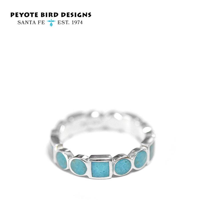 ≪PEYOTE BIRD DESIGNS≫ ペヨテバード・デザイン<br>天然石 ターコイズ スクエア サークル ラウンド シルバー リング SV925 Turquoise Ring (Silver)