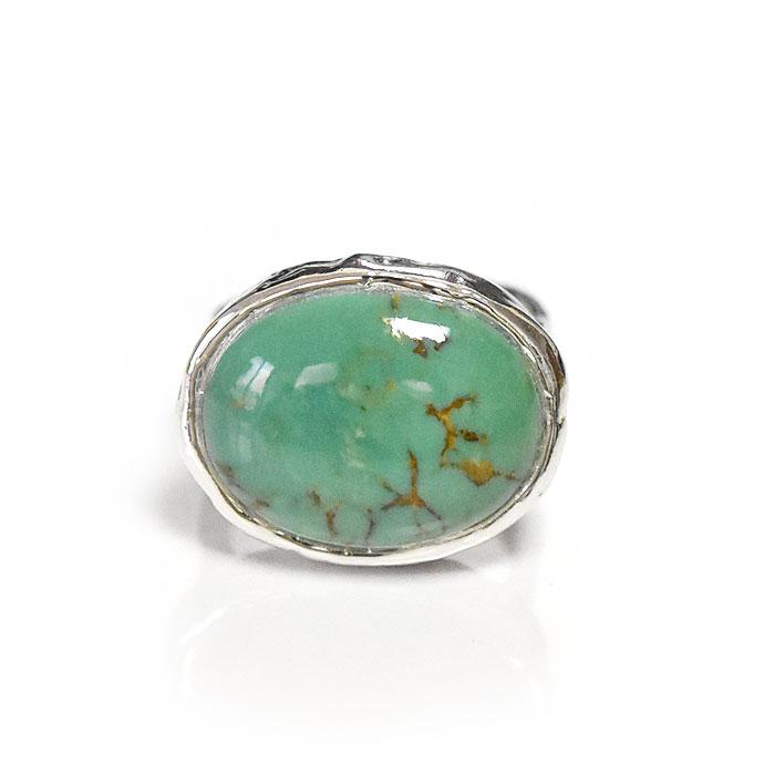 ≪PEYOTE BIRD DESIGNS≫ ペヨテバード・デザイン<br>天然石 ターコイズ 大粒 オーバル サークル ラウンド シルバー リング SV925 Turquoise Ring (Silver)