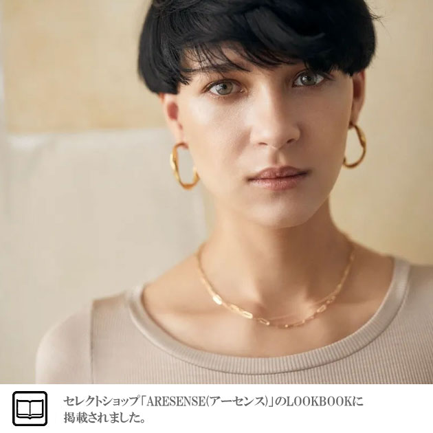 【再入荷】≪MARAMCS≫ マラムクス<br>長方形 楕円 チェーン ゴールド ネックレス チョーカー ブランドポーチ付き Rectangle Chain Necklace (Gold)