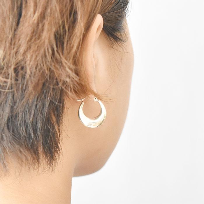≪PAZ COLLECTIVE≫ パズ コレクティブ<br>オーバル ぷっくり シルバー フープ ピアス SV925 Picnic Earrings (Silver)