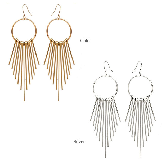 ≪chibi jewels≫ チビジュエルズ<br>全2色 ロング フリンジ フックピアス Athena Fringe Earrings(Gold/Silver)