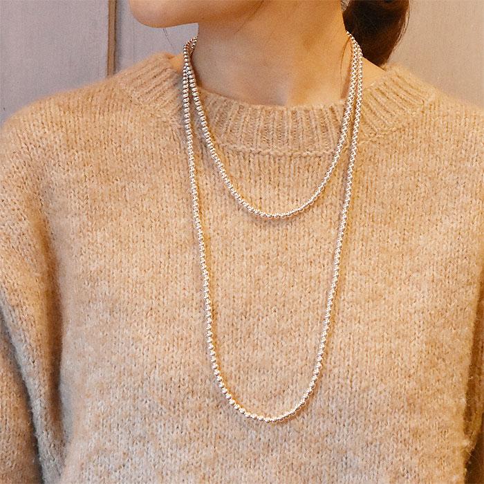 ≪HARPO≫ アルポ<br>シルバー ボールチェーン 3連 スーパー ロング ネックレス SV925 ナバホパール Silver Necklace (Silver)