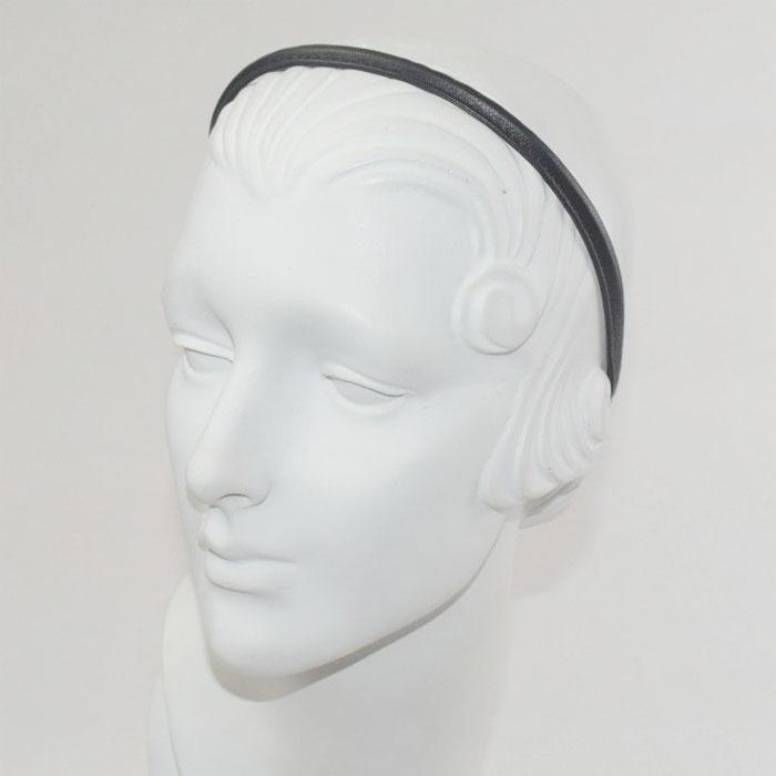 ≪Jennifer Ouellette≫ジェニファー・オーレット<br>ブラック 黒 本革 レザー 素材 細い 極細 カチューシャ ヘアバンド Leather Skinny HeadBand (Black)
