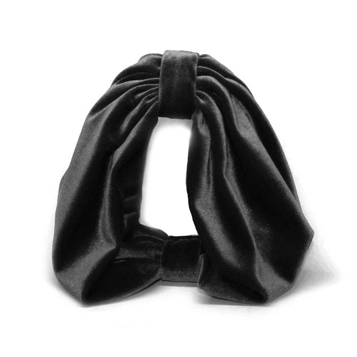 ≪Jennifer Ouellette≫ジェニファー・オーレット<br>ブラック 黒 ベロア素材 太い 極太 ターバン カチューシャ ヘアバンド Velvet HeadBand (Black)