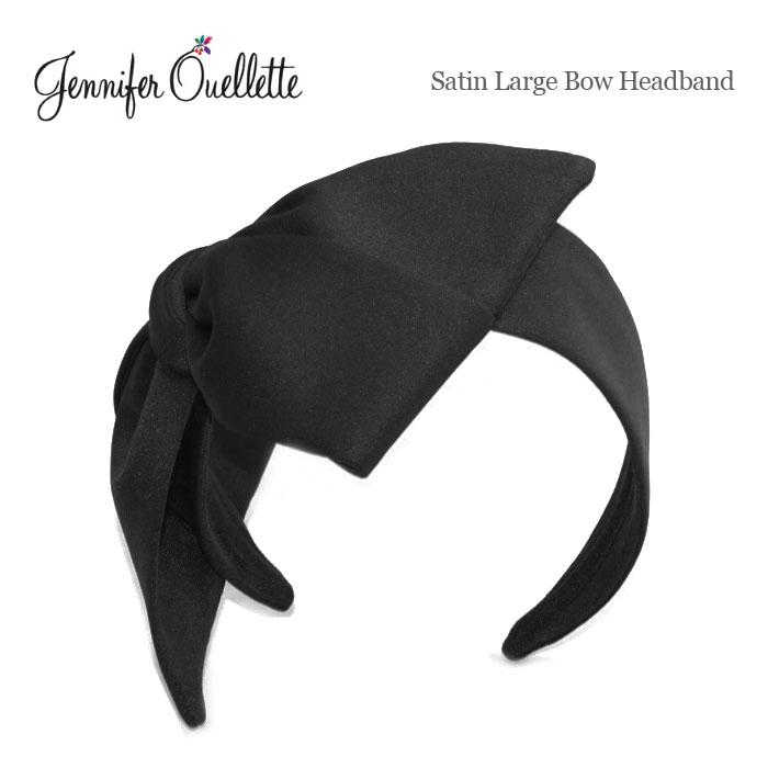 ≪Jennifer Ouellette≫ジェニファー・オーレット<br>サテン素材 ブラック 黒 太い 極太 特大 リボン カチューシャ ヘアバンド ヘッドドレス Satin Large Bow HeadBand (Black)
