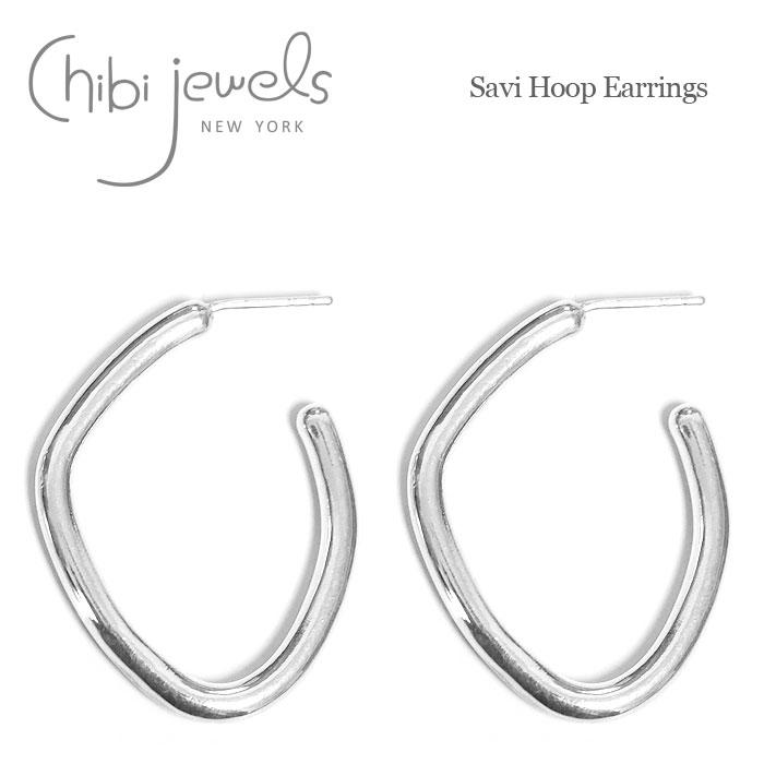 ≪chibi jewels≫ チビジュエルズ<br>変形 カーブ ボリューム シルバー フープ ピアス SV925 Savi Hoop Earrings (Silver)