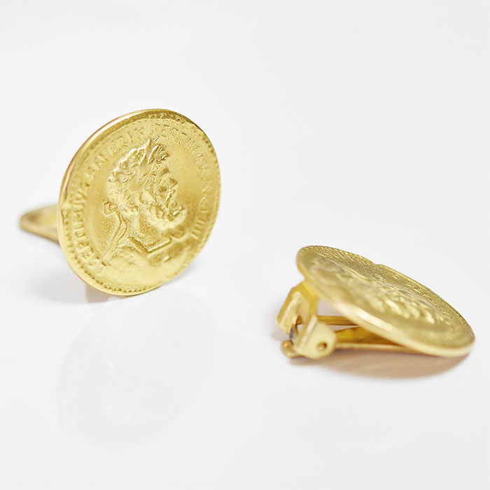 ≪BEN-AMUN≫ ベン・アムン<br>男性 横顔 ローマ帝国 皇帝 硬貨 コイン ゴールド イヤークリップ イヤリング 24金仕上げ Septimius Severus Coin Earrings (Gold)