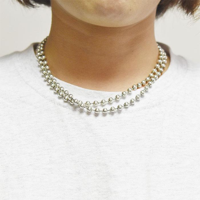≪PEYOTE BIRD DESIGNS≫ ペヨテバード・デザイン<br>シルバー ボールチェーン ロング ネックレス 2連 ナバホパール 2WAY SV925 ROUND BEAD Necklace (Silver)