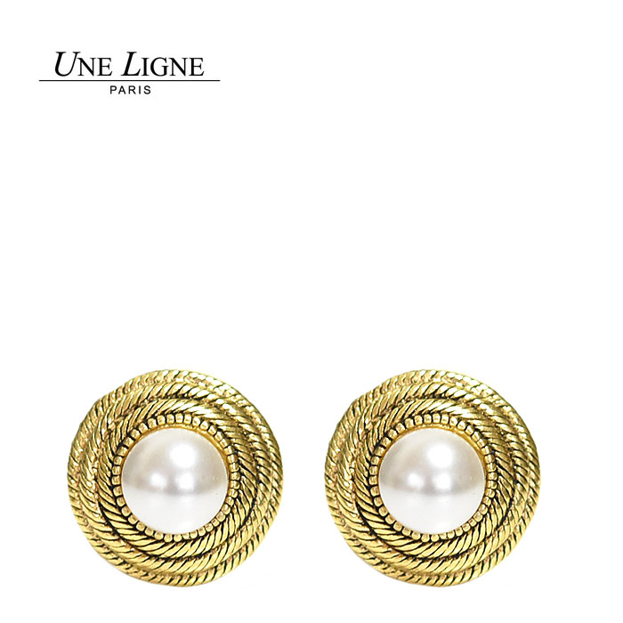 ≪Une Ligne≫ ユヌリーニュ<br>パール 真珠 ラウンド 半球 ラウンド ゴールド イヤークリップ イヤリング ヴィンテージ Vintage Earrings (Gold)