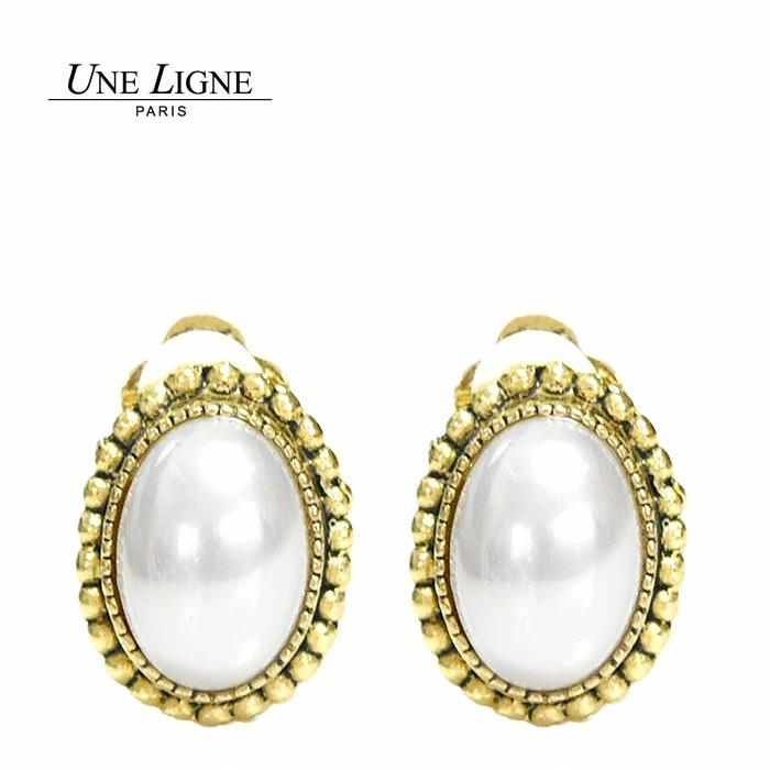 ≪Une Ligne≫ ユヌリーニュ<br>パール 真珠 楕円形 ラウンド ゴールド イヤークリップ イヤリング ヴィンテージ Vintage Earrings (Gold)