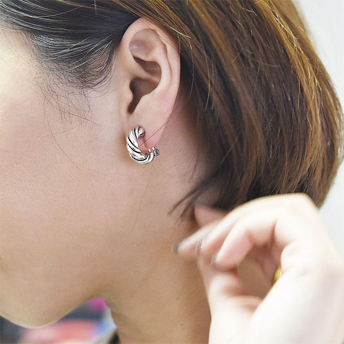 ≪Une Ligne≫ ユヌリーニュ<br>シルバー ツイスト ハーフフープ イヤークリップ イヤリング ヴィンテージ Vintage Earrings (Silver)