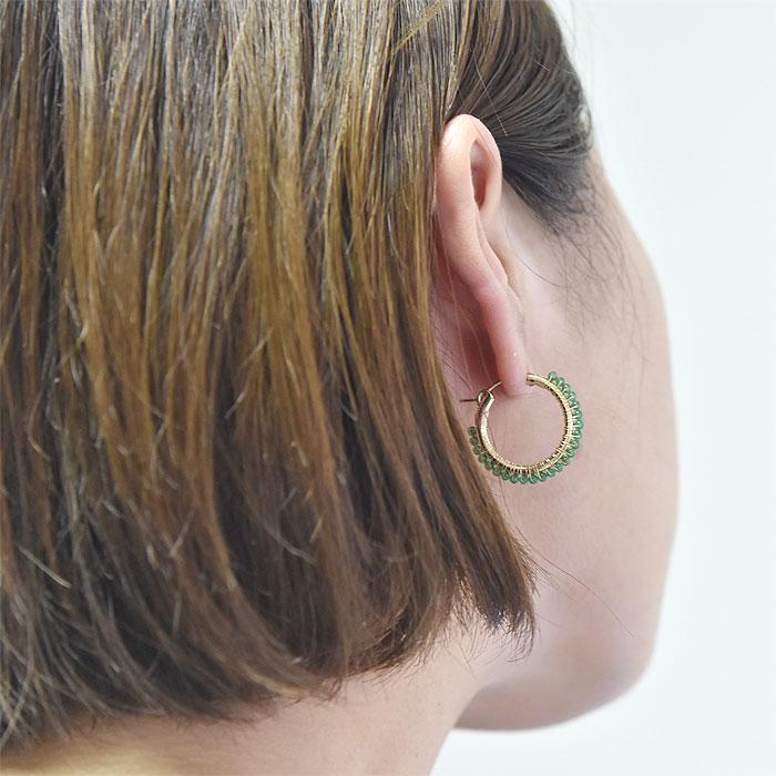 ≪viv & ingrid≫ ヴィヴ&イングリッド<br>天然石 ジェイド 翡翠 ヒスイ グリーン ラップ フープ ピアス SMサイズ Wrap Hoop Earrings SM (Jade)