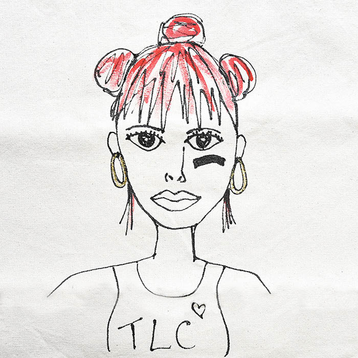 ≪zhuu.≫ ズー<br>レフトアイ TLC R&B ミュージシャン ハンドペイント コットン キャンバス トートバッグ 似顔絵 グラフィック 帆布 LEFTEYE TOTE (Natural)