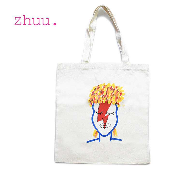 ≪zhuu.≫ ズー<br>デヴィッド・ボウイ David Bowie グラムロック ミュージシャン ハンドペイント コットン トート バッグ 似顔絵 グラフィック 帆布 キャンバス BOWIE TOTE (Natural)